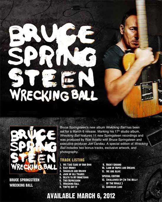poster wrecking ball de Bruce Springsteen